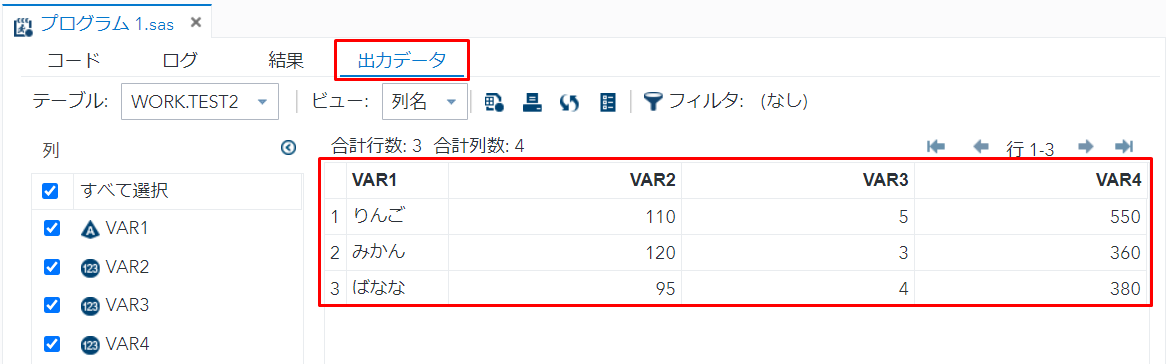 SAS CSVファイルを読み込み出力データで確認 | ITSakura